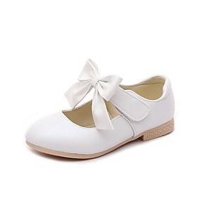 Girls' Flats Flower Girl Shoes PU Little Kids(4-7ys) Bowknot White / Pink / Gold Summer