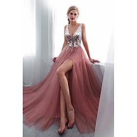A-Line Empire Sparkle Wedding Guest Prom Dress V Neck Sleeveless Sweep / Brush Train Tulle Sequined Polyester with Sequin Split Front 2020