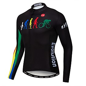 21Grams Evolution Men's Long Sleeve Cycling Jersey - Black Bike Jersey Top UV Resistant Breathable Quick Dry Sports Winter Elastane Terylene Polyester Taffeta