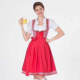 Oktoberfest Beer Dirndl Trachtenkleider Women's Dress Bavarian Vacation Dress Costume Red
