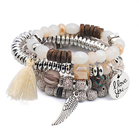 4pcs Women's Bead Bracelet Layered Wings European Cute Alloy Bracelet Jewelry Black / White / Red For Daily