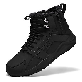 Men's Boots Fashion Boots Sporty Daily Leather Warm Non-slipping Wear Proof Black and White / Black / Brown Winter