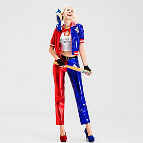 Harley Quinn Pants Cosplay Costume Gloves Outfits Party Costume Adults' Women's Cosplay Halloween Halloween Festival / Holiday PU(Polyurethane) Blue Women's Ea