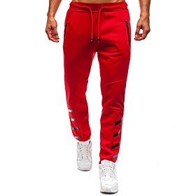 Men's Basic wfh Sweatpants Pants - Solid Colored Black Red Dark Gray US32 / UK32 / EU40 US34 / UK34 / EU42 US36 / UK36 / EU44