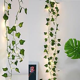 4pcs 2M Artificial Plants LED Fairy String Light Green Leaf Ivy Vine Lights for Home Wedding Decor DIY Hanging Garden Yard Decor(without battery)
