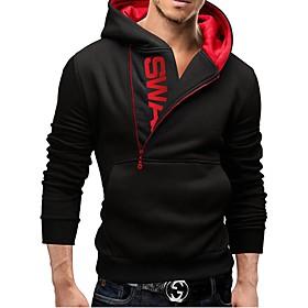 Men's Daily Hoodie Color Block Hooded Active Hoodies Sweatshirts  Long Sleeve Black / Fall / Winter