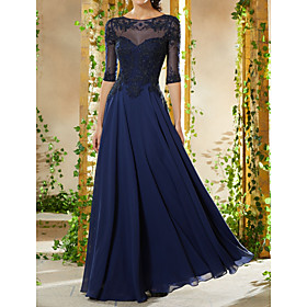 A-Line Empire Blue Wedding Guest Formal Evening Dress Boat Neck Half Sleeve Floor Length Chiffon with Beading Appliques 2020