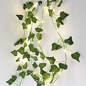 2M Artificial Plants LED String Light Creeper Green Leaf Ivy Vine for Home Wedding Decor Lamp DIY Hanging Garden Yard Lighting (Come Without Battery)3pcs 1pc