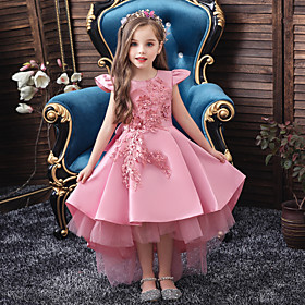 Kids Girls' Active Sweet Solid Colored Lace Short Sleeve Midi Dress Blushing Pink
