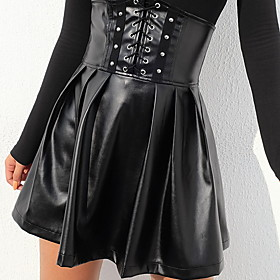 Women's A Line Skirts - Solid Colored Black S M L