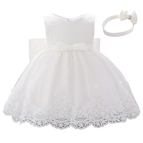 Baby Girls' Active Color Block Bow / Layered / Pleated Sleeveless Knee-length Dress White