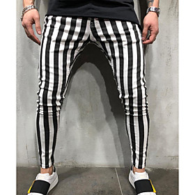 Men's Active Chinos Pants Striped Black  White White Black US32 / UK32 / EU40 US36 / UK36 / EU44 US38 / UK38 / EU46