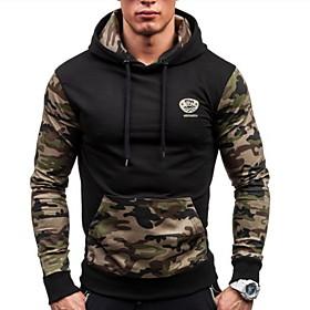 Men's Daily Hoodie Camo / Camouflage Hooded Casual Hoodies Sweatshirts  Black Blue Light gray