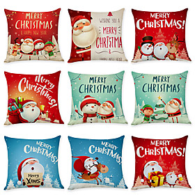 1 Set of 9 pcs Christmas Series Decorative Linen Throw Pillow Cover 18 x 18 inches 45 x 45cm For Home Decoration Christmas Decoration