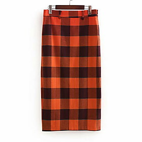 Women's A Line Skirts - Houndstooth Red S M L