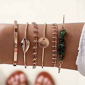 6pcs Women's Green Bracelet Bangles Cuff Bracelet Earrings / Bracelet Layered Alphabet Shape Shell Vintage Trendy Ethnic Fashion Boho Stone Bracelet Jewelry Go