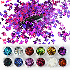 12 Colors/Set Laser Butterfly Nail Art Sequin Sparkle Acrylic Paillettes Holographic Glitter Flakes Tips 3D UV Gel Nail Polish Decorations