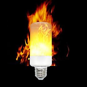 1pc LED Flame Effect Fire Light Bulbs E12 E14 E27 Base 3528 SMD 3 modes Flickering Halloween Christmas Home Decoration AC 85-265 V