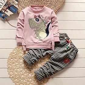 Baby Boys' Basic Print Long Sleeve Regular Regular Clothing Set Blushing Pink