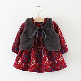 Baby Girls' Basic Floral Long Sleeve Dress Wine