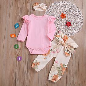 Baby Girls' Active / Basic Floral / Print Print Long Sleeve Regular Regular Clothing Set Blushing Pink