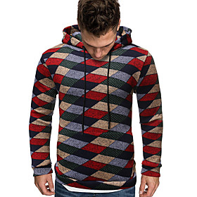 Men's Daily Hoodie Plaid Hooded Casual Hoodies Sweatshirts  Red