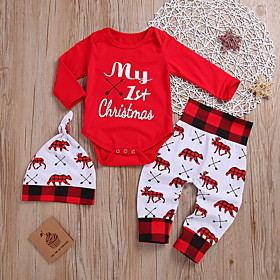 Baby Boys' Street chic Print / Christmas Long Sleeve Regular Cotton Clothing Set Red / Toddler