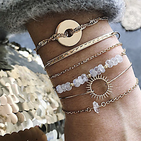 6pcs Women's White Bracelet Bangles Vintage Bracelet Earrings / Bracelet Layered Lucky Classic Vintage Trendy Fashion Boho Alloy Bracelet Jewelry Gold For Dail