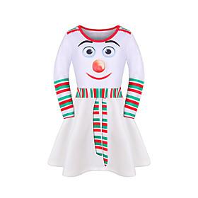 Kids Girls' Active Cute Geometric Christmas Print Long Sleeve Midi Dress Black
