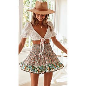Women's Beach Sexy Mini Swing Skirts - Polka Dot Patchwork / Print Rainbow S M L