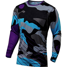 21Grams Men's Long Sleeve Cycling Jersey Downhill Jersey Dirt Bike Jersey Winter Spandex Polyester Navy Pink Orange Camo / Camouflage Bike Jersey Top Mountain