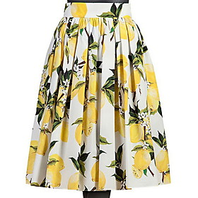 Women's A Line Skirts - Floral Pleated Yellow S M L