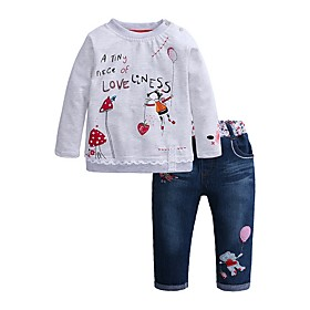 Kids Girls' Clothing Set Cartoon Long Sleeve Basic Gray Fabric:Polyester; Sleeve Length:Long Sleeve; Gender:Girls'; Style:Basic; Kids Apparel:Clothing Set; Age Group:Kids; Pattern:Cartoon; Front page:FF; Listing Date:12/10/2019; Bust:; Length [Bottom]:; Length [Top]:; Special selected products:COD