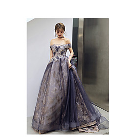 A-Line Elegant Sparkle Wedding Guest Prom Formal Evening Dress Off Shoulder Sleeveless Court Train Satin Tulle Sequined with Appliques 2020