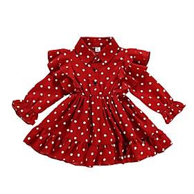 Baby Girls' Active Polka Dot Long Sleeve Dress Red / Toddler