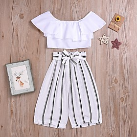 Kids Girls' Basic Striped Short Sleeve Clothing Set White Fabric:Polyester; Sleeve Length:Short Sleeve; Gender:Girls'; Style:Basic; Kids Apparel:Clothing Set; Age Group:Kids; Pattern:Striped; Front page:FF; Listing Date:02/28/2020; Bust:; Length [Bottom]:; Length [Top]: