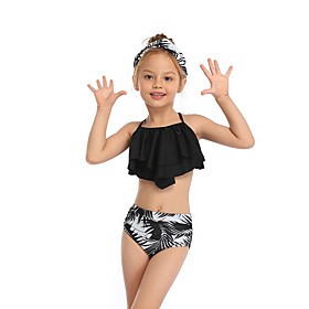 Kids Toddler Girls' Active Cute Tropical Leaf Floral Geometric Color Block Ruffle Print Sleeveless Swimwear Black