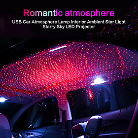 1pcs USB RGB Car Light Roof Star Night Light Projector Atmosphere Galaxy Lamp USB Decorative Lamp Adjustable Multiple Lighting(Common style)