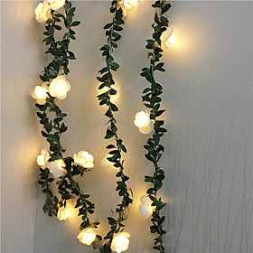 6M Artificial Plants Led String Light Creeper Green Leaf Ivy Vine For Home Wedding Decor Lamp DIY Hanging Garden Yard Lighting Powered By AA Battery Box 1 set