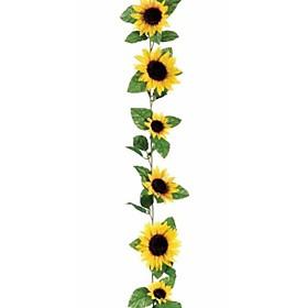 1 Branch 260cm Fake Silk Sunflower Ivy Vine Artificial Flowers With Green Leaves Hanging Garland Garden Fences Home Wedding Decoration
