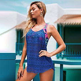 Women's Casual / Sporty High-Waisted Swimwear Set One-piece Swimsuit Cut Out Print High Waist Floral Print V Wire Swimwear Bathing Suits Light Blue Black Blue