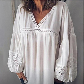 Women's Beach Blouse Shirt Solid Colored Long Sleeve Lace Embroidery Hollow Out V Neck Tops Loose Lace Cotton Basic Top White Black