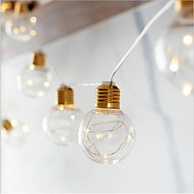 4M LED String Light Outdoor Waterproof Fairy Lights Garland G45 Bulbs Garden Patio Wedding Christmas Decoration Light Chain Warm White Lighting AA Battery Powe