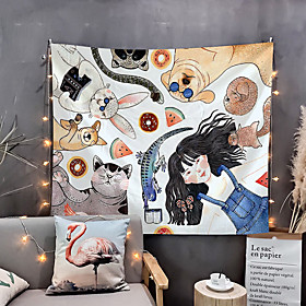 Home Living Tapestry Wall Hanging Tapestries Wall Blanket Wall Art Wall Decor Beautiful Girl And Pets Tapestry Wall Decor