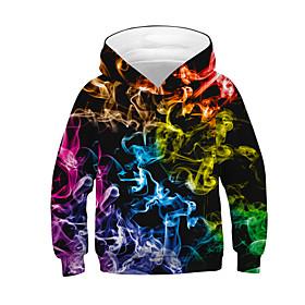Kids Boys' Active Basic Color Block 3D Long Sleeve Hoodie  Sweatshirt Black