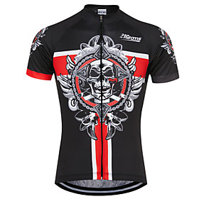 21Grams Skull Men's Short Sleeve Cycling Jersey - Black / Red Bike Jersey Top Breathable Quick Dry Sweat-wicking Sports Terylene Mountain Bike MTB Road Bike Cy