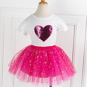 Kids Girls' Basic Print Short Sleeve Clothing Set Purple Fabric:Polyester; Sleeve Length:Short Sleeve; Gender:Girls'; Style:Basic; Kids Apparel:Clothing Set; Age Group:Kids; Pattern:Print; Front page:FF; Listing Date:03/10/2020; Bust:; Length [Bottom]:; Length [Top]: