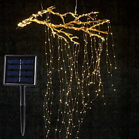 1Set 2M x 10 Branch 200LED Solar Power Vines Branch LED String Fairy Light Outdoor Garden Fence Tree LED Flexible String Fairy Branch Light Yard Garland Decora