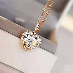 3 carat Synthetic Diamond Necklace Silver For Women's Heart cut Ladies Stylish Luxury Elegant Wedding Party Evening Formal High Quality Classic
