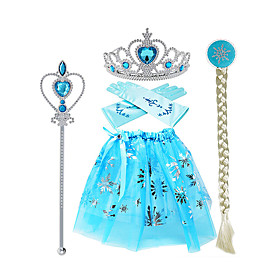 Princess Elsa Skirt Gloves Outfits Girls' Movie Cosplay Halloween Blue Skirts Gloves Crown Children's Day Masquerade Rhinestone Fabric Plastic / Wand / Wig / W